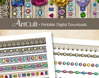 Printable download GEM & LACE STRIPS Clip art Digital Collage Sheet Embellishment for scrapbooking crafts and greeting cards by ArtCult