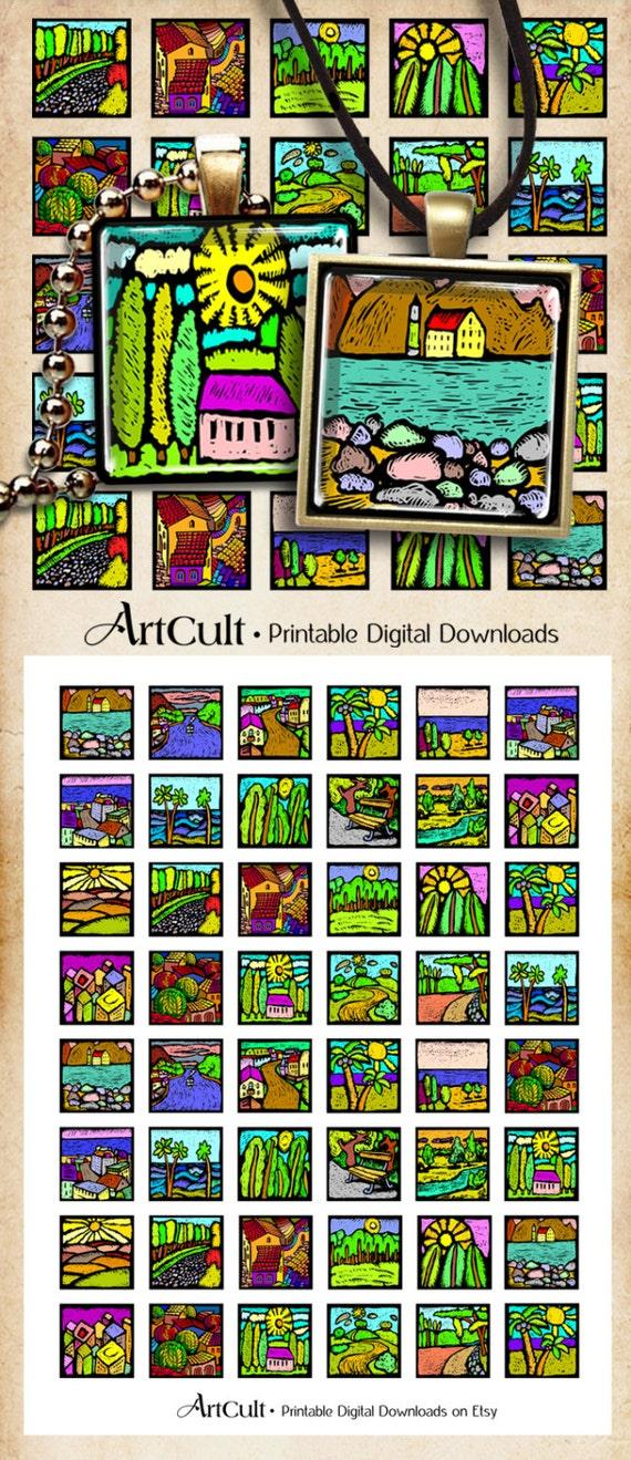 Digital Collage Sheet LANDSCAPE 1x1inch images Printable Download for pendants bezel settings magnets craft paper goods ArtCult graphics