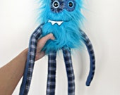 Monster Plush - Handmade Plush Monster - Teal Blue Faux Fur - Hand Embroidered Soft Toy - Soft Monster Toy - Long Arms Plaid - Plush Monster