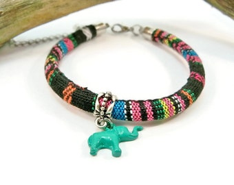 Elephant Bracelet, Trending Stacking, Boho Bohemian, Multi-Color,  Cloth Cord Bracelet, Minimalist Bracelet