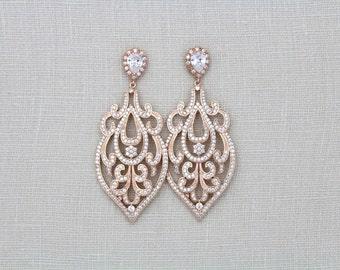 Rose Gold Wedding Earrings, Rose Gold chandelier earrings, Bridal earrings, Wedding jewelry, Art Deco Earrings, Statement earrings, AMELIA