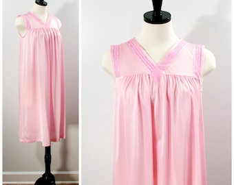 Vintage Pink Nightgown, Shadowline Sleeveless Short Pink Nightie with Embroidered Detail, Size M Petite
