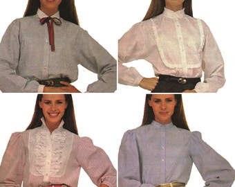 Super Preppy Eighties Frilly Tuxedo Blouse! Vintage 1980s Simplicity Sewing Pattern 8229, Misses' Shirts, Size 8, Uncut with Factory Folds