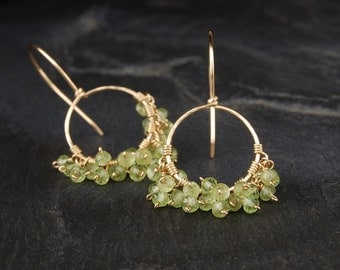 Peridot dangle earrings, small gold hoop earrings, green and gold, August birthstone jewelry - On the Fringe