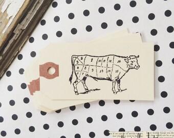 10 cow butcher cut manila mini gift tag