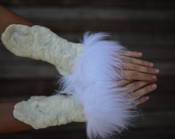 Felt Melted Goddess Of The Snow Animals Woodland Primitive Tribal Wrist Cuffs With Faux Fur OOAK