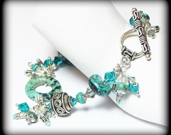Gypsy Soul... Handmade Jewelry Bracelet Beaded Cha Cha Turquoise Gemstone Crystal Glass Bali Silver Black Dangle Asymmetrical Earthy Boho