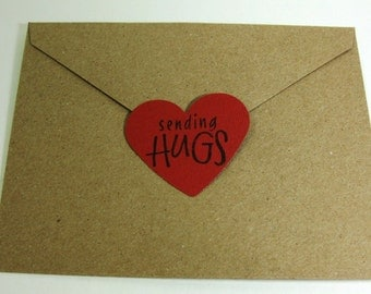 Heart Shaped Envelope Seals - Happy Valentine's Day - Sending Hugs - Heart Shaped Stickers - Set of 8