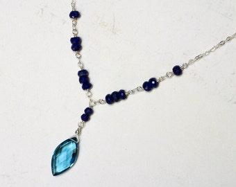 London Blue Quartz Necklace, Lapis Lazuli Necklace, Sterling Silver - L'Elegance by CircesHouse on Etsy