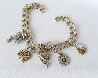 Summer charm bracelet, beach, sun, fish, Summer themed, silver tone, chunky, vintage jewelry