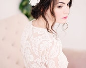 Chiffon flower headpiece, lace headpiece, flower hair comb, bridal - style 2010
