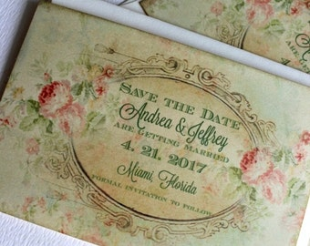 Vintage Elegant Floral Background Save the Date Cards Handmade by avintageobsession on etsy