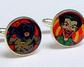 Cuff Links Batman and Joker from UPCYCLED vintage Batman comic book, silver plated cuff links