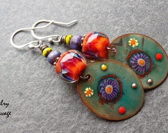 Boho Chic Enamel Glass Dangle Earrings, Colorful Orange Purple Green Flower Enamel Charm Earrings
