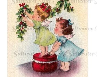 Christmas Angels Hanging Holly Image Digital Download vintage transfer card holiday xmas christmas card vintage 1950s decorating  christmas