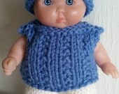 Berenguer Baby Doll Knitting Pattern Ribbed Pullover and Hat Set fits chubby 5 inch itty bitty pdf knitting pattern instant download