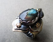 RESERVED for DEAN F., Lotus Ring with Labradorite, Chakra Work, Protective, Mystical, Zen, Energy Worker, Healer, Chakra Balancing