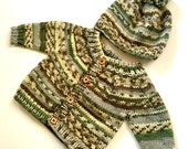 Sweater Hat Set Boy or Girl Norwegian Baby 3 4 5 6 month Multi Color green woods camouflage soft wool acrylic blend for baby boy toddler
