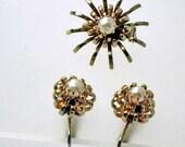 Coro Atomic Flower, Pin Demi, Set, Vintage 1950 Mid Century Modern Jewelry