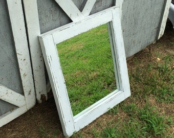 Distressed White Wash Mirror - Rustic Mirror - Primitive Mirrors - Country Home Decor - Wood Mirror