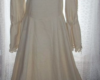Vintage Handmade Dress Renaissance Boho Fitted Long Ivory Wedding Prom Lace Size 12 Linen Zipper Hand Sewn Cosplay
