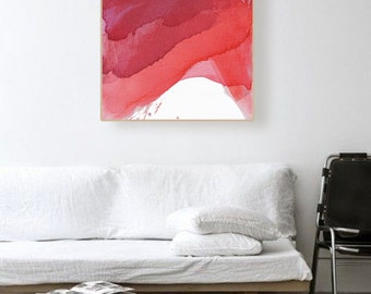 """Original Abstract Monochromatic Red Watercolor Painting, reds, 25 x 30"""" -- """"Monochrome I"""", abstract expressionism, colorful modern artwork"""