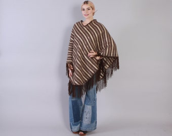 Vintage 70s PONCHO CAPE / 1970s Neutral Soft & Thick Striped Brown Wool Fringed Poncho