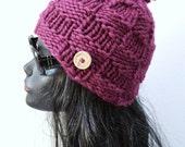 Chunky Pom Pom Beanie  - Burgundy - Winter Fashion Accessory