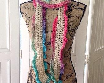 Scarf, Skinny Scarf, Extra Long, Colorful, Crochet Scarf, Ruffled Scarf, Crochet Sash, Wrap, Belt, Handmade, Rainbow Crochet Scarf