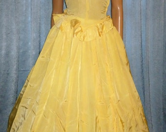 """PROM Queen - Vintage 40's - Full Circle - Yellow - Ruffled - Taffeta - PROM - Maxi - Formal - Gown - 34"""" bust size"""