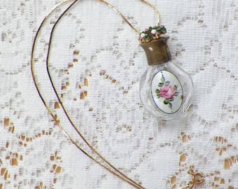 Vintage Small Glass Perfume Bottle Embellished with Pink Rose Guilloche Enamel Oval / Pink, Green, White Vintage Jewelry Assembly, Shabby