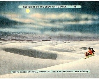 Vintage New Mexico Postcard - Moonlight on the Sand Dunes, White Sands National Monument