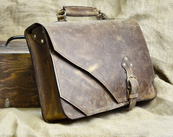 Leather Briefcase - Anniversary Gift for Husband - Men's Satchel - Carryon Brief Case Messenger Bag