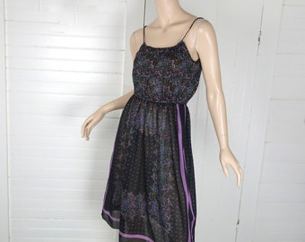 Scarf Print Disco Dress- 1970s Black & Lavender Sundress- Spaghetti Straps- Small- 70s