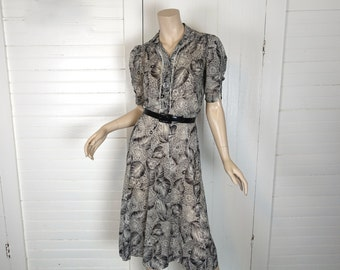 40s Chrysanthemum Dress by Nelly Don- 1940s Black & White Floral- Small- Puffy Sleeves