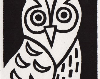 Little Owl. Linocut Greeting Card
