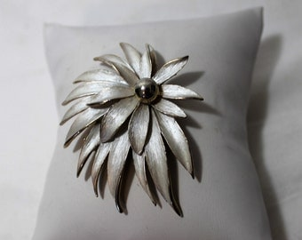 Vintage Silver Tone Flower Brooch, Statement Jewelry
