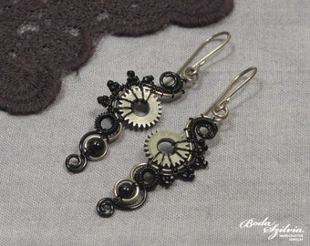 STEAMPUNK EARRINGS - silver and black earrings, steampunk jewelry, steampunk dangle earrings, silver steampunk jewelry, elegant steampunk