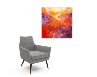 Digital Print, Bold Abstract Expressionist Painting, Instant Download, Contemporary Home Decor, Square Wall Art, red orange purple yellow