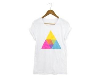 Crystalline Tee - Boyfriend Fit Scoop Neck Cotton Tshirt with Rolled Cuffs in White & CMYK - Women's Size S-5XL