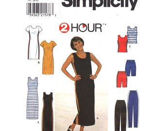 Womens Sewing Pattern Simplicity 8138 Knit Athletic Tank Top Dress Shorts & Pants, Scoop Neck Dress Womens Size 10 12 14 UNCUT