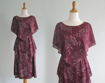 Vintage 70s Dress - Romantic 70s Plum Floral Dress with Flutter Bodice - Vintage Purple Dress by Ms. Sugar - Vintage 1970s Dress M L