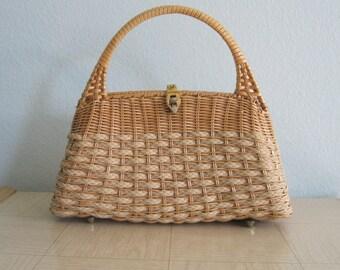 Elegant 60s Wicker Handbag - Vintage 60s Rattan Summer Bag - Vintage 1960s Handbag