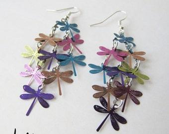 Rainbow Multi Dangling Dragonfly Earrings