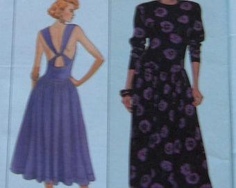 vintage 80s simplicity pattern 9193 women misses dress for stretch knits only  back variation sz 10-12-14 uncut