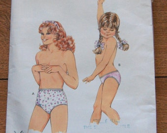 Vintage 80s Kwik Sew pattern 1653 Girls PANTIES sz 8-10-12-14 uncut briefs bikini