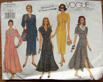 2001 vogue pattern 1149 misses dress 2 lengths button front sz 12-14-16 uncut