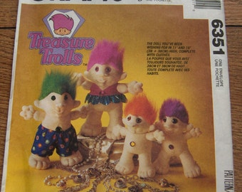 "vintage 1993 McCalls pattern 6351 -   TROLL DOLL in 2 sizes 11"" and 15"" and Clothes uncut elf munchkin gnome troll toy children boy girl"