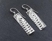Fern Leaf Earrings, Silver Rectangle Earrings, Bar Earrings, Nameplate Earrings in Sterling Silver, Women's Jewelry or Gift