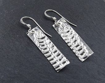 Sterling Silver Drop Earrings with Embossed Fern Leaf